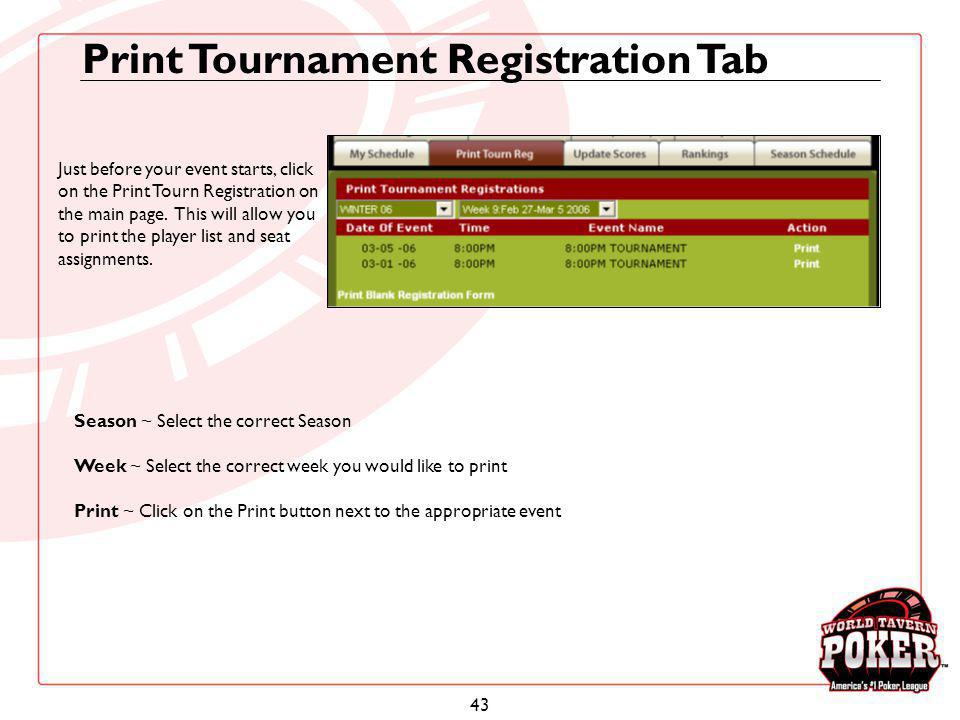 Print Tournament Registration Tab