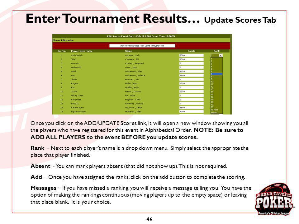 Enter Tournament Results… Update Scores Tab
