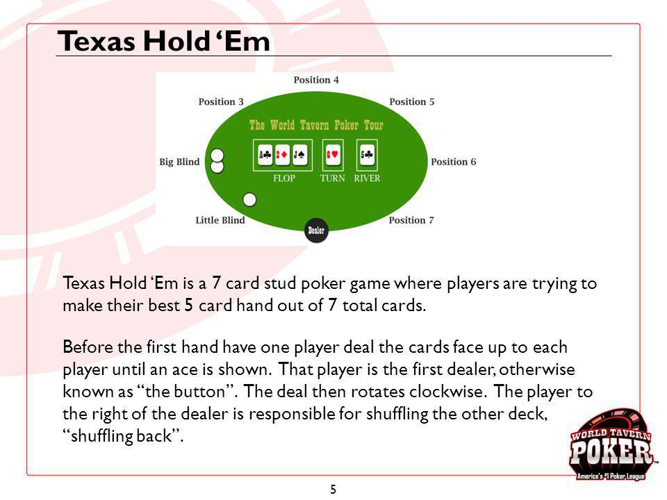 Texas Hold 'Em Texas Hold 'Em is a 7 card stud poker game where players are trying to make their best 5 card hand out of 7 total cards.