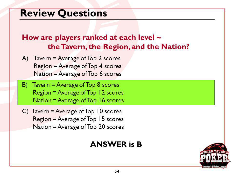 Review Questions How are players ranked at each level ~