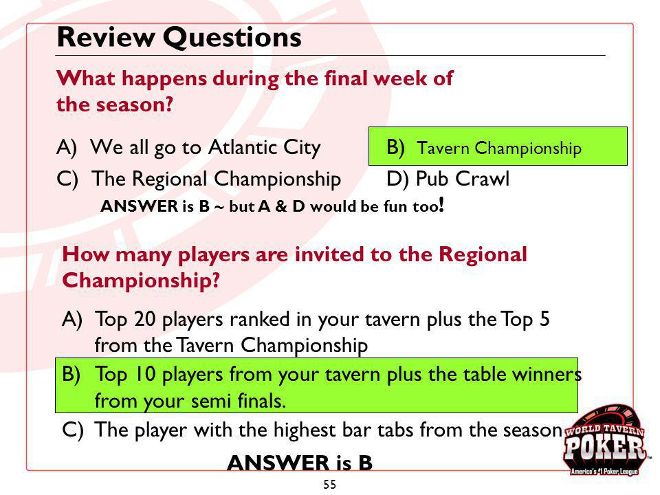 Review Questions What happens during the final week of the season