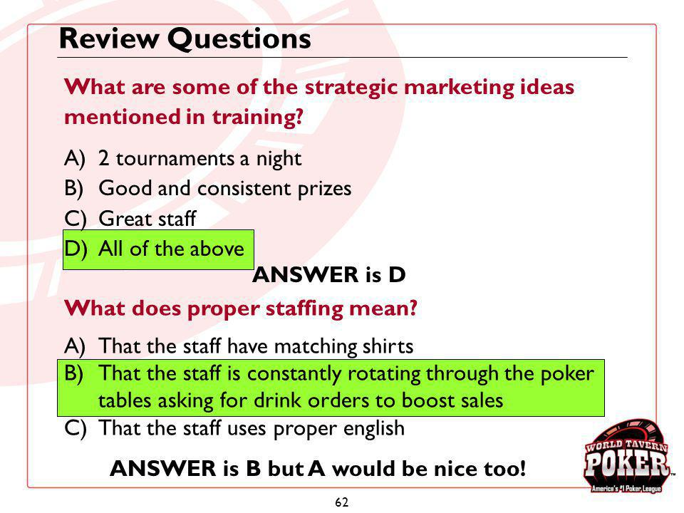 Review Questions What are some of the strategic marketing ideas