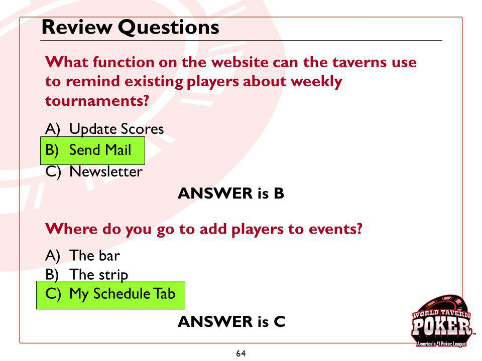 Review Questions What function on the website can the taverns use