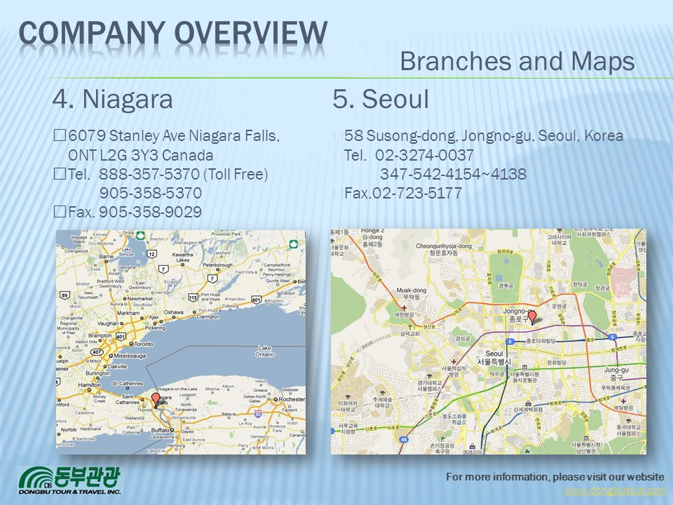 Company Overview Branches and Maps 4. Niagara 5. Seoul 3/31/2017