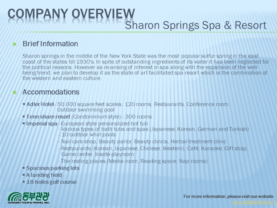 Company Overview Sharon Springs Spa & Resort