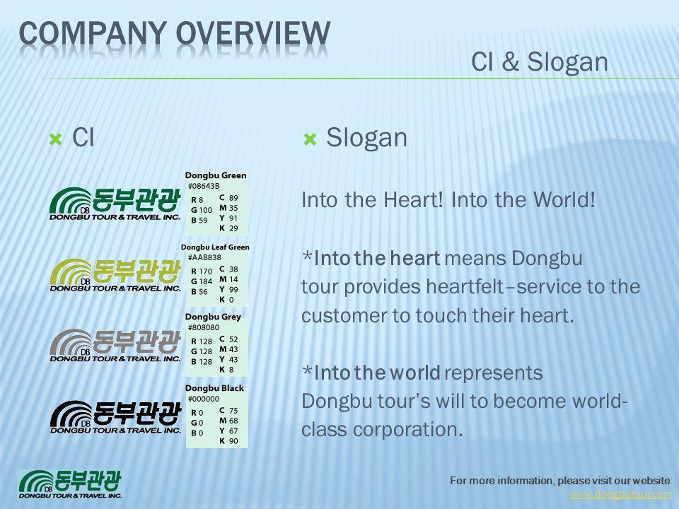 Company Overview CI & Slogan CI Slogan Into the Heart! Into the World!