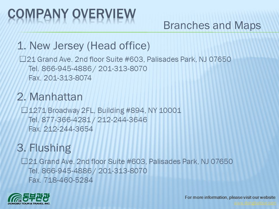 Company Overview Branches and Maps 1. New Jersey (Head office)