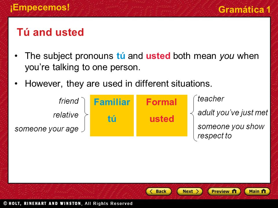 Tú and usted The subject pronouns tú and usted both mean you when you're talking to one person. However, they are used in different situations.