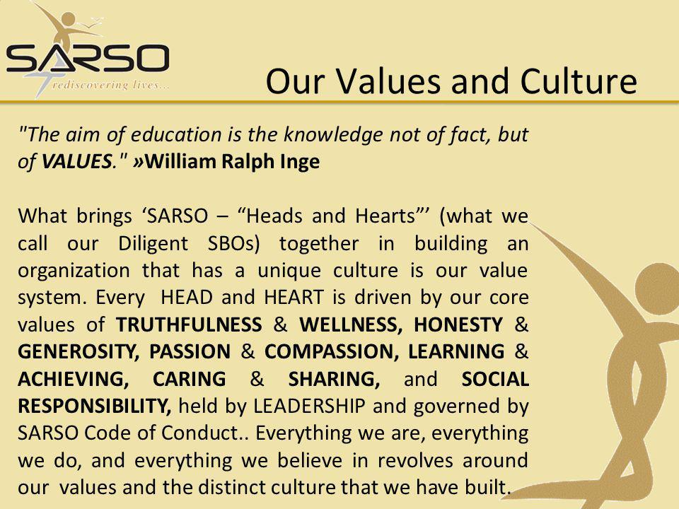 Our Values and Culture The aim of education is the knowledge not of fact, but of VALUES. »William Ralph Inge.
