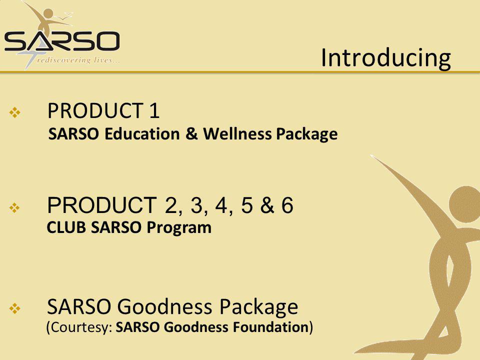 Introducing PRODUCT 1 SARSO Goodness Package PRODUCT 2, 3, 4, 5 & 6