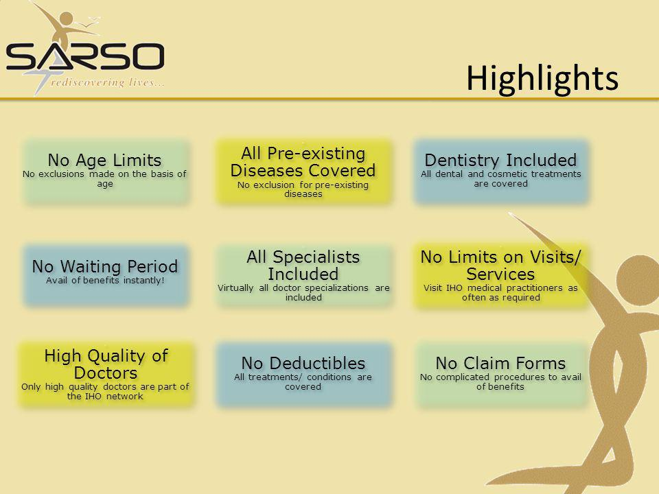 Highlights No Age Limits All Pre-existing Diseases Covered