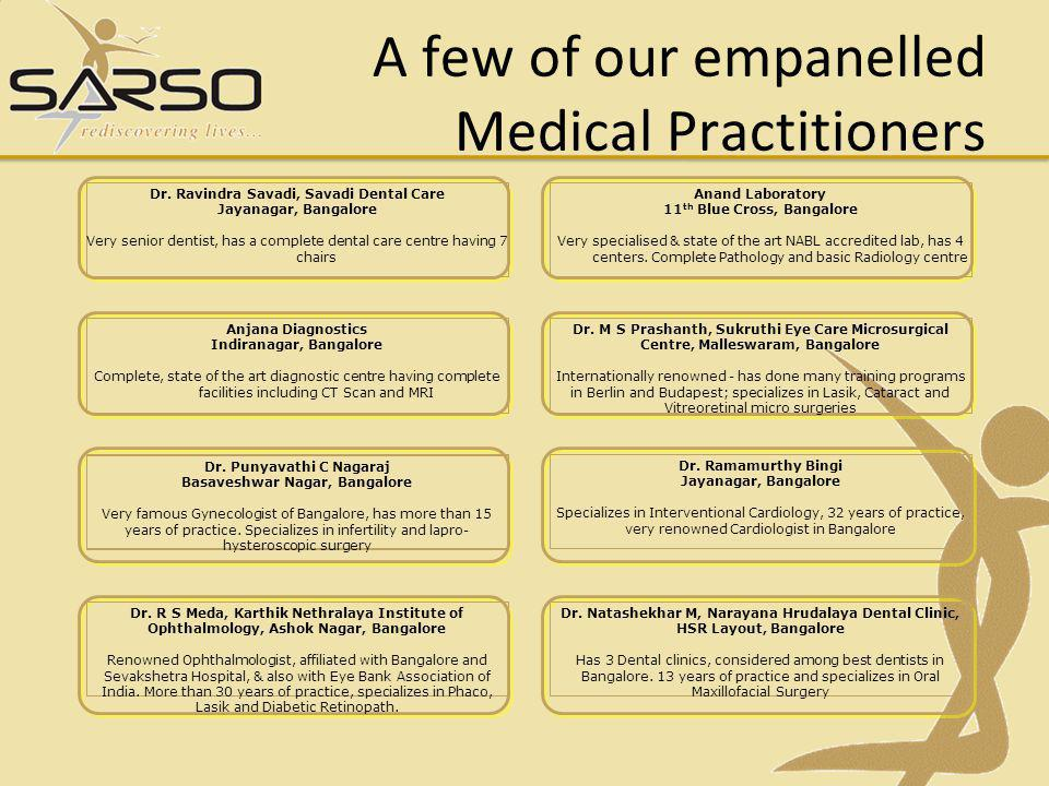 A few of our empanelled Medical Practitioners