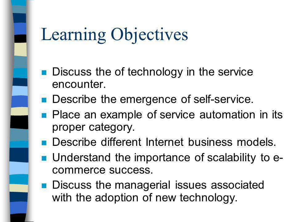 Learning Objectives Discuss the of technology in the service encounter. Describe the emergence of self-service.