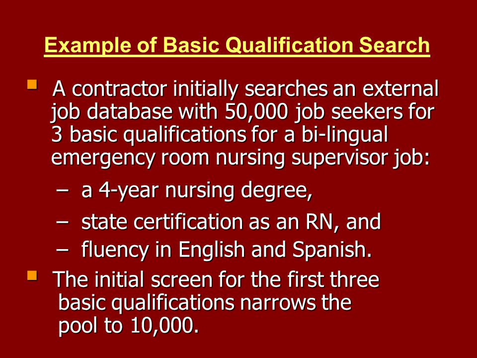Example of Basic Qualification Search