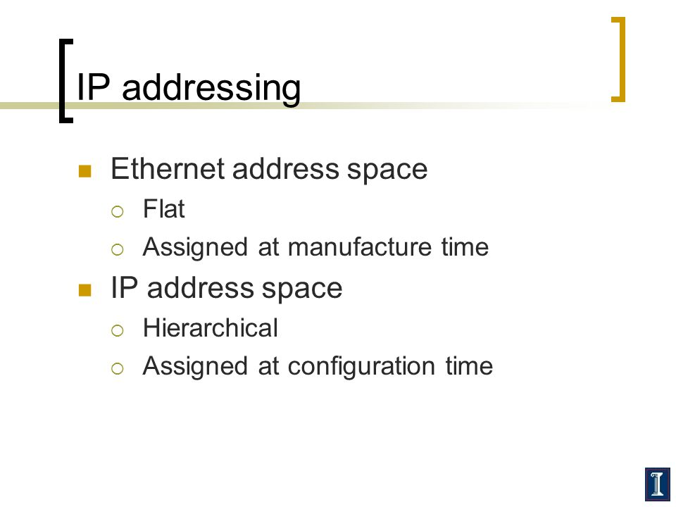 IP addressing Ethernet address space IP address space Flat