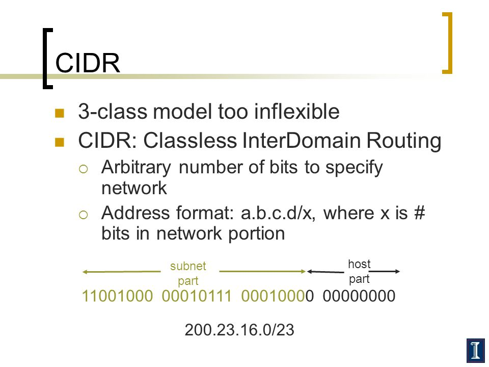 CIDR 3-class model too inflexible CIDR: Classless InterDomain Routing