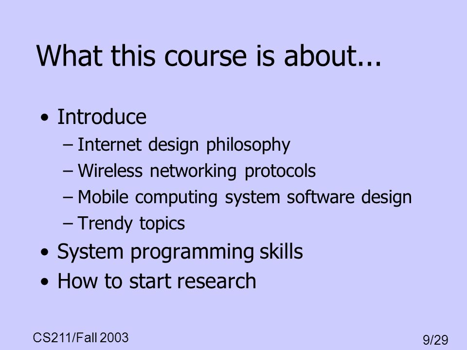 What this course is about...
