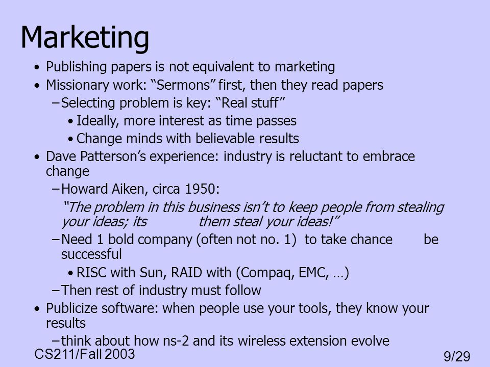 Marketing Publishing papers is not equivalent to marketing