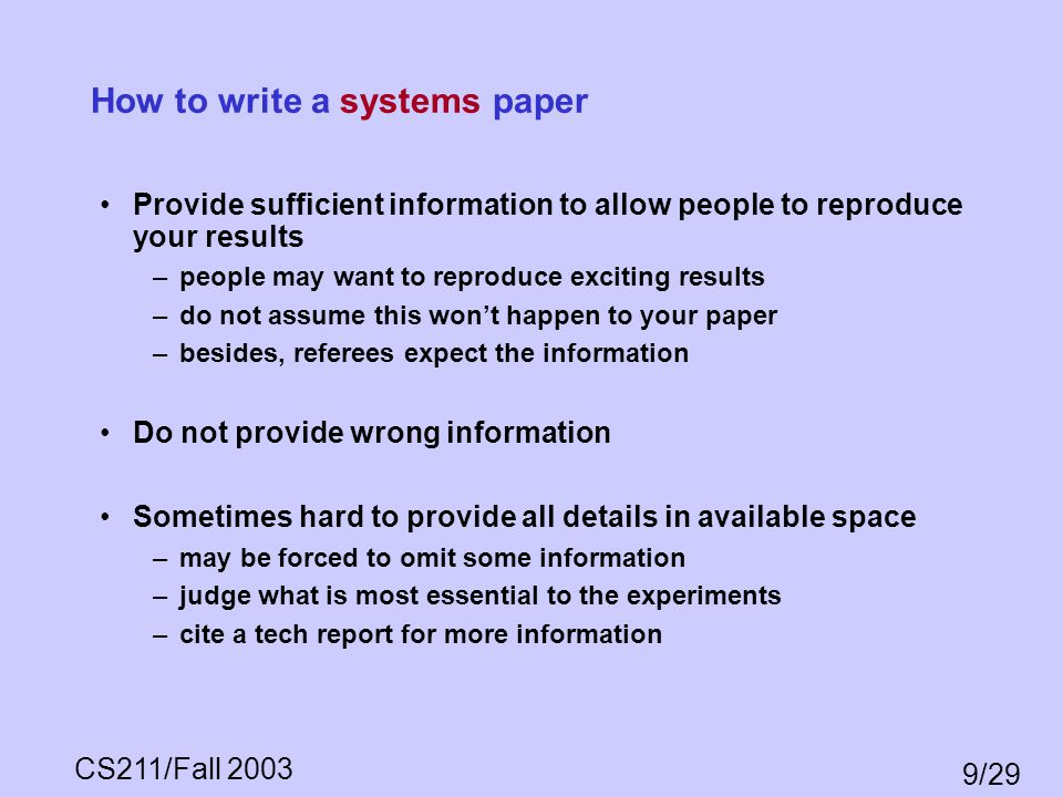 How to write a systems paper