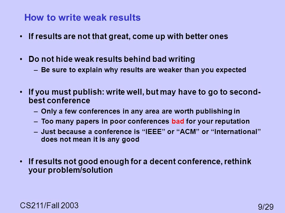 How to write weak results