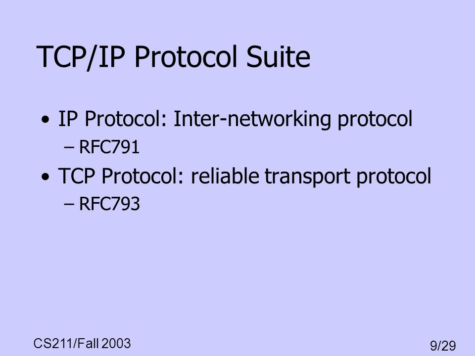TCP/IP Protocol Suite IP Protocol: Inter-networking protocol
