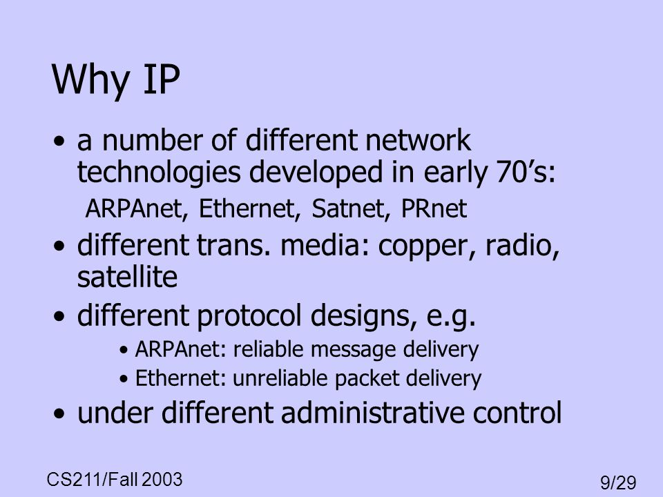 Why IP a number of different network technologies developed in early 70's: ARPAnet, Ethernet, Satnet, PRnet.