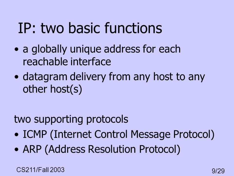 IP: two basic functions