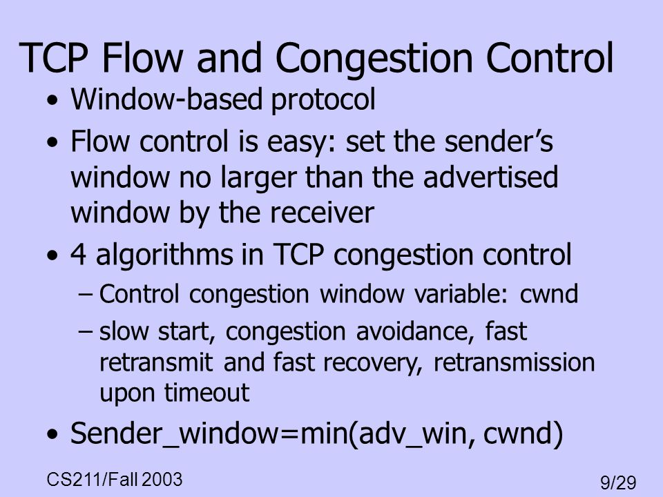 TCP Flow and Congestion Control