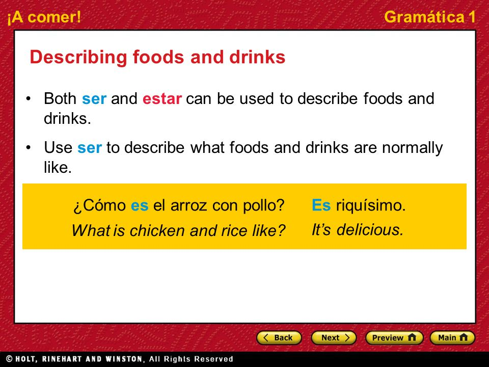 Describing foods and drinks