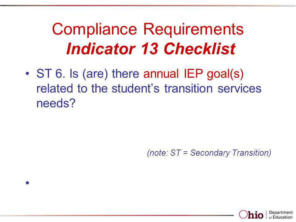 Compliance Requirements Indicator 13 Checklist