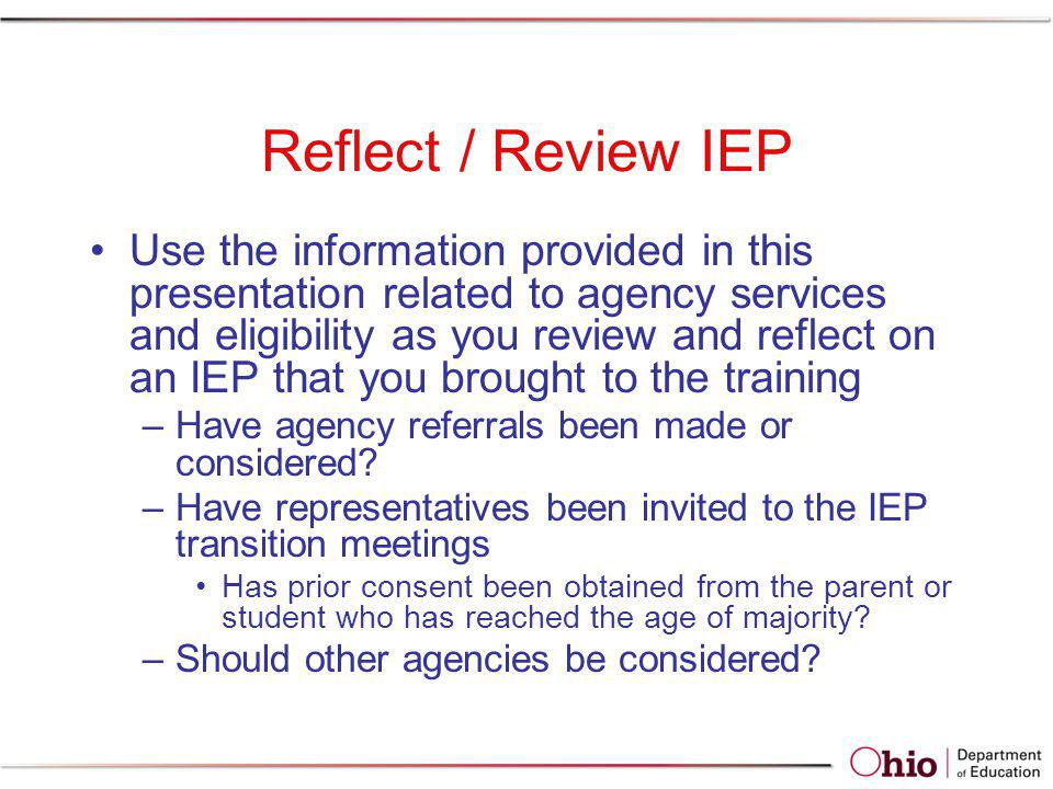 Reflect / Review IEP