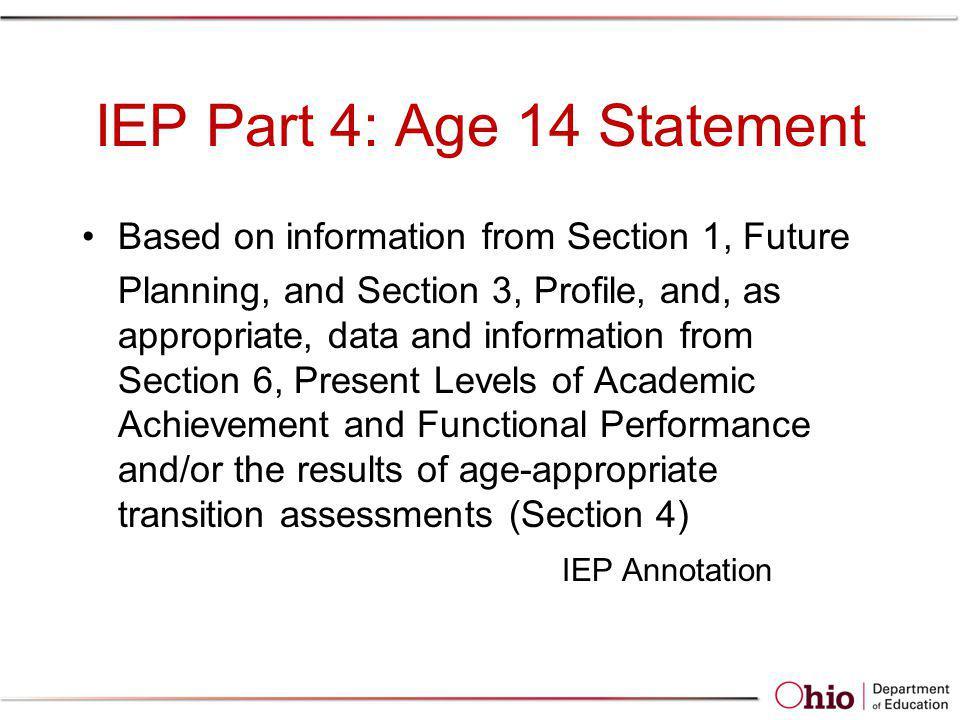 IEP Part 4: Age 14 Statement