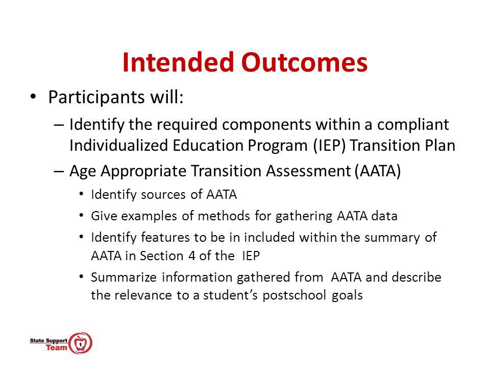 Intended Outcomes Participants will: