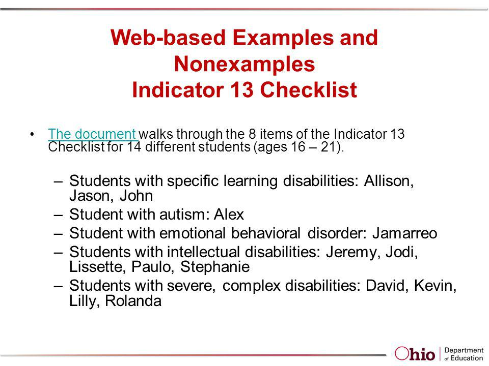 Web-based Examples and Nonexamples Indicator 13 Checklist