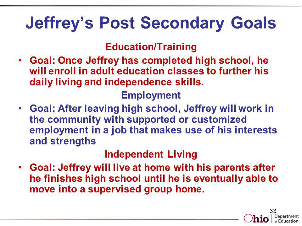 Jeffrey's Post Secondary Goals