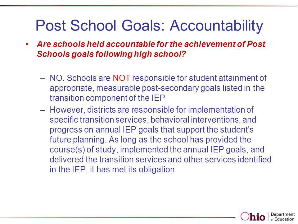 Post School Goals: Accountability