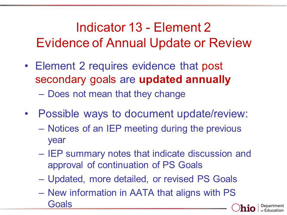 Indicator 13 - Element 2 Evidence of Annual Update or Review