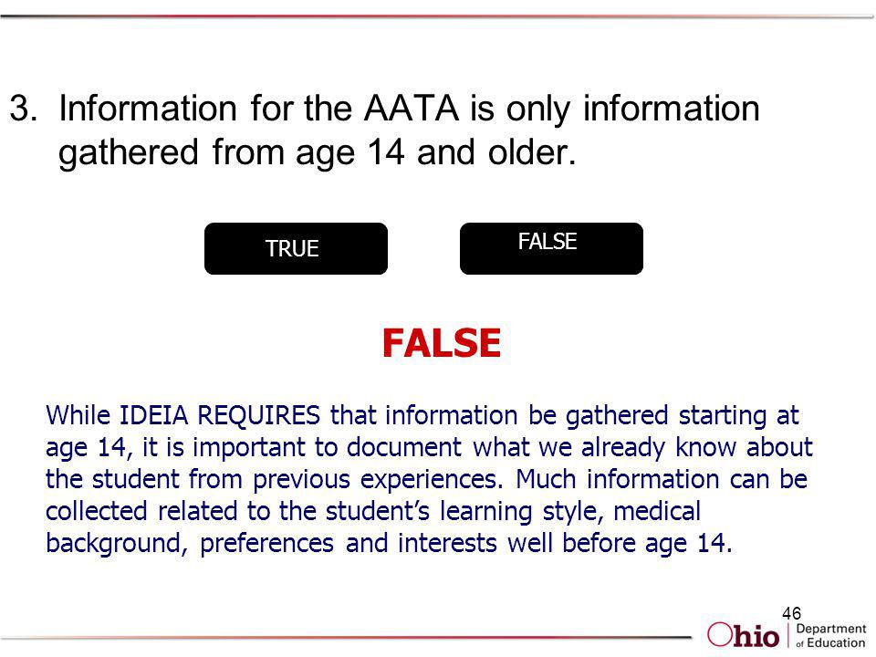 Information for the AATA is only information gathered from age 14 and older.
