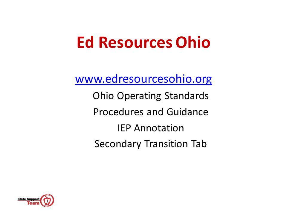 Ed Resources Ohio www.edresourcesohio.org Ohio Operating Standards