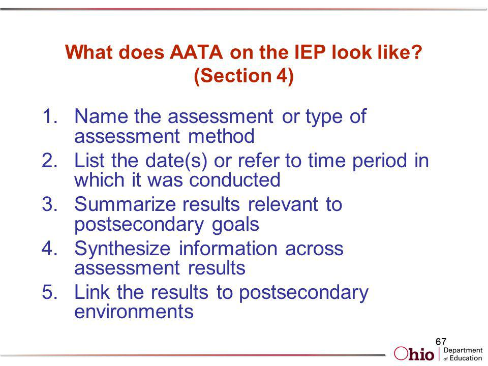 What does AATA on the IEP look like (Section 4)