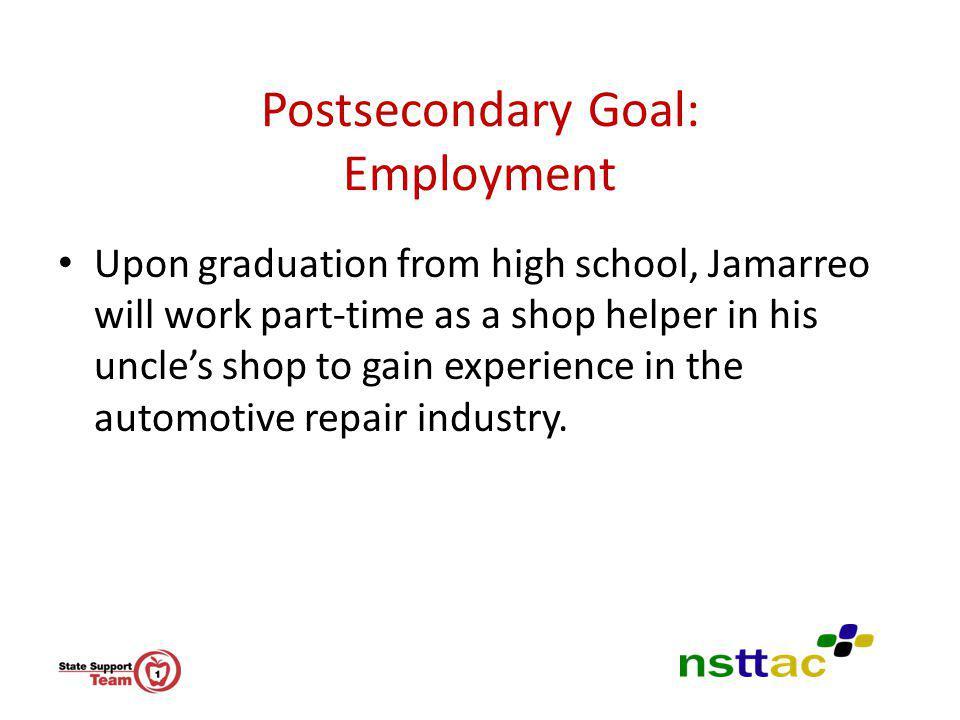 Postsecondary Goal: Employment