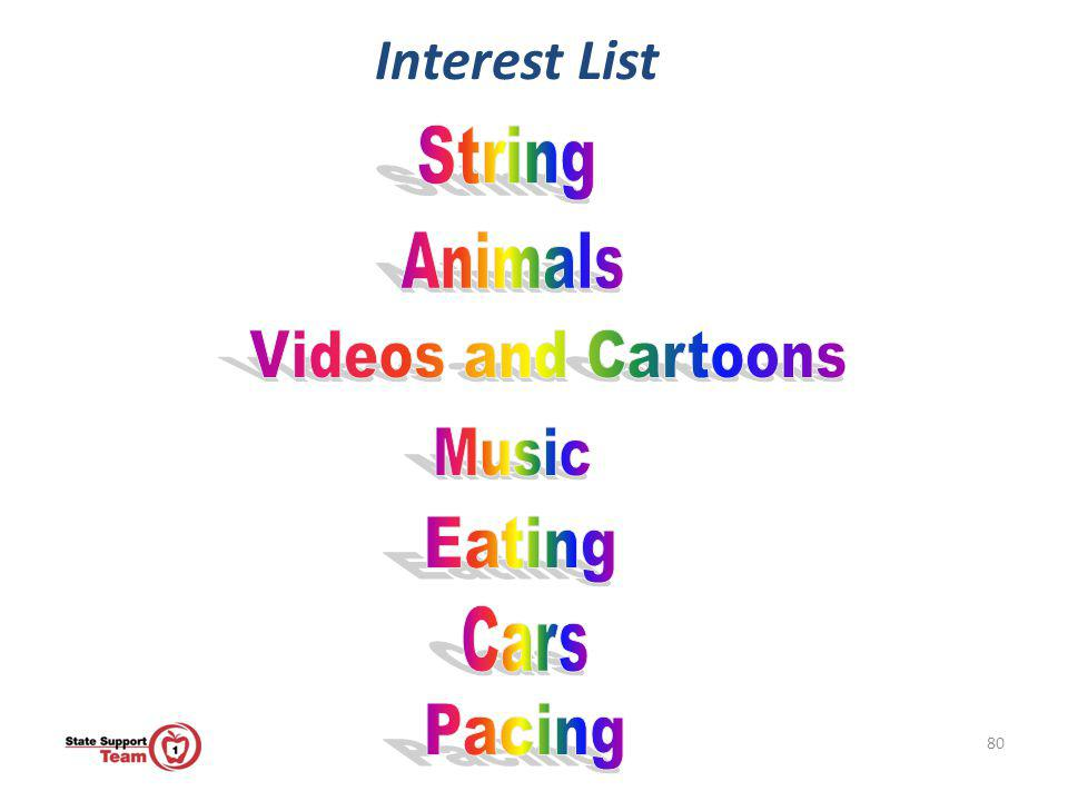 Interest List String Animals Videos and Cartoons Music Eating Cars