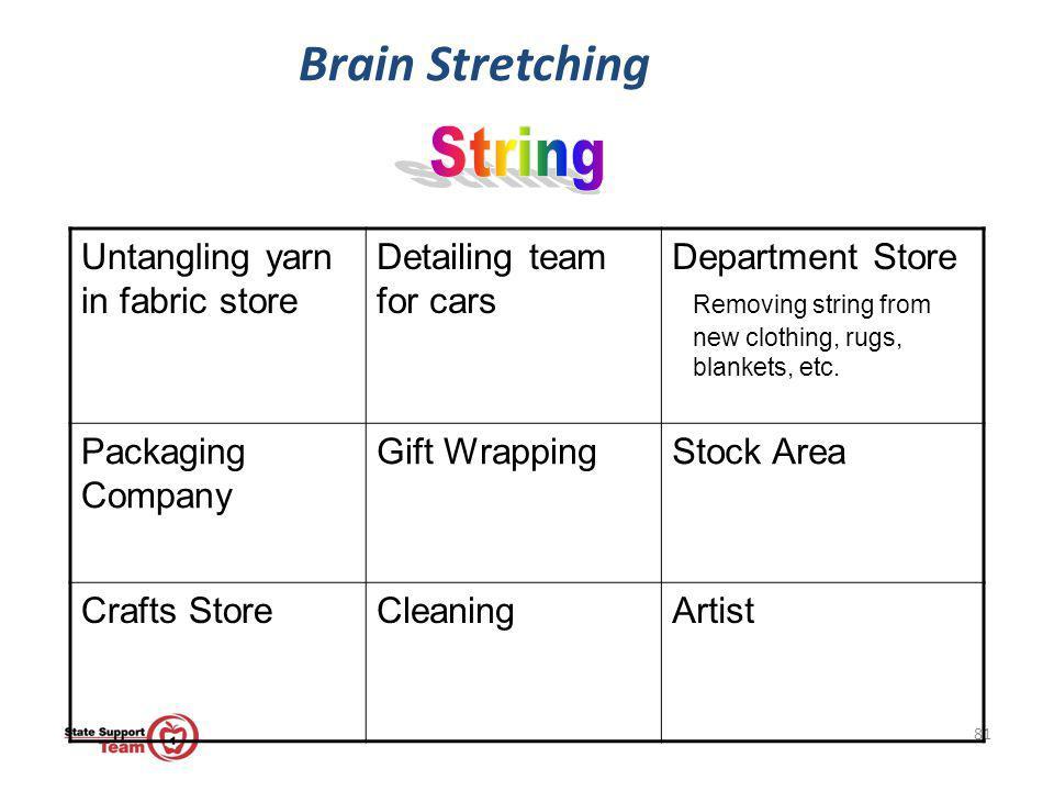 Brain Stretching String Untangling yarn in fabric store