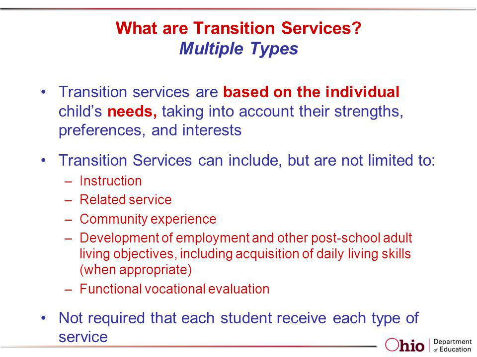 What are Transition Services Multiple Types