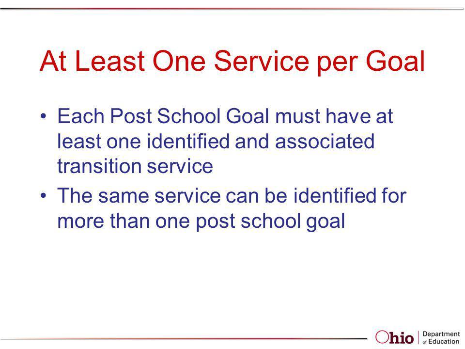 At Least One Service per Goal