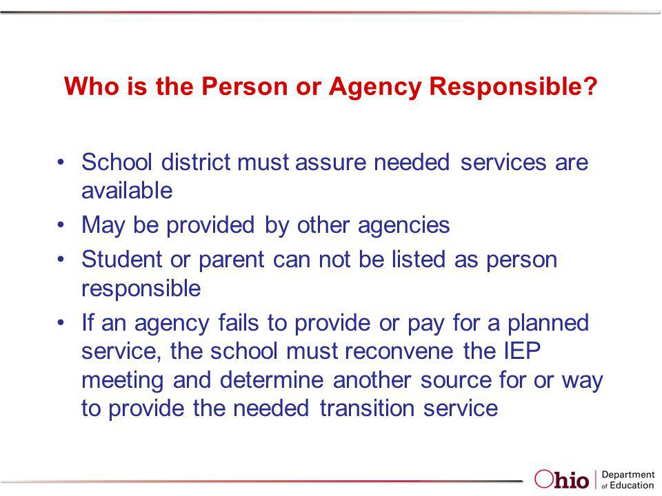 Who is the Person or Agency Responsible