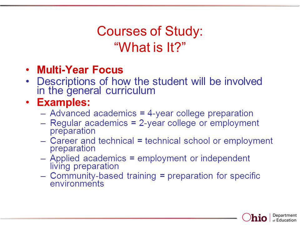 Courses of Study: What is It