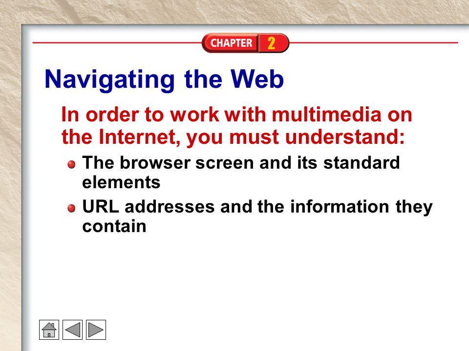Navigating the Web In order to work with multimedia on the Internet, you must understand: The browser screen and its standard elements.