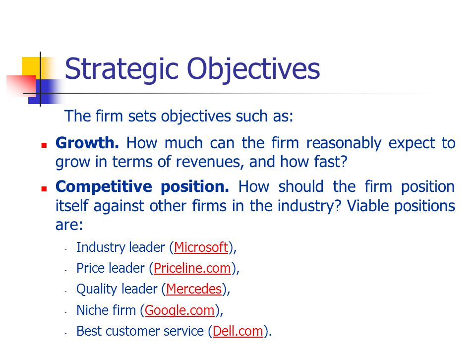 Strategic Objectives The firm sets objectives such as: