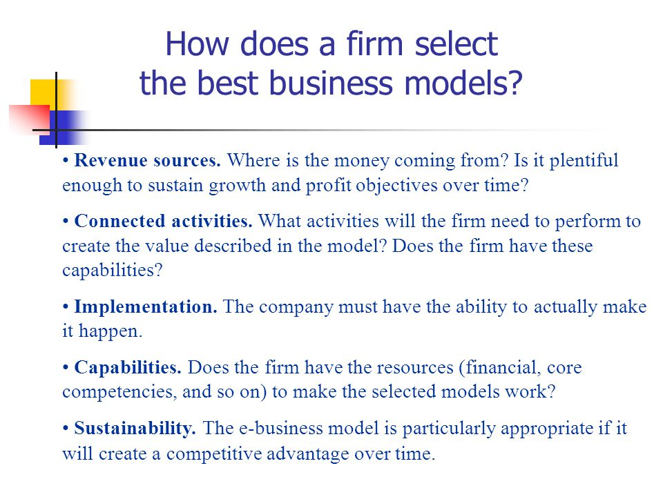 How does a firm select the best business models